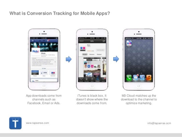 www.tapsense.com info@tapsense.ocm What is Conversion Tracking for Mobile Apps? App downloads come from channels such as F...