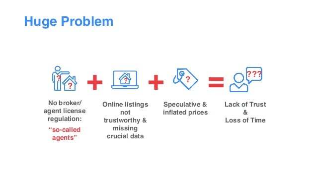 """Huge Problem Lack of Trust &  Loss of Time Speculative & inflated prices ? + = ??? No broker/ agent license regulation: """"s..."""