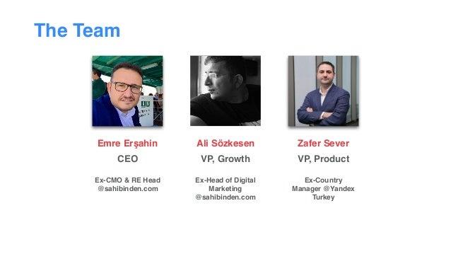 The Team Emre Erşahin CEO  Ex-CMO & RE Head @sahibinden.com Ali Sözkesen VP, Growth  Ex-Head of Digital Marketing @sah...