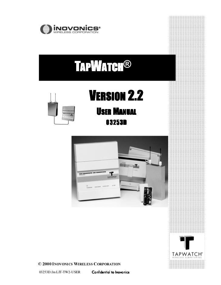 03253D.fm LIT-TW2-USER   Confidential to Inovonics