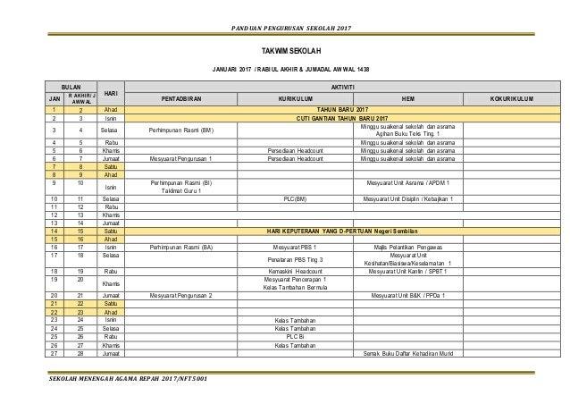 PANDUAN PENGURUSAN SEKOLAH 2017 SEKOLAH MENENGAH AGAMA REPAH 2017/NFT5001 TAKWIM SEKOLAH JANUARI 2017 / RABIUL AKHIR & JUM...