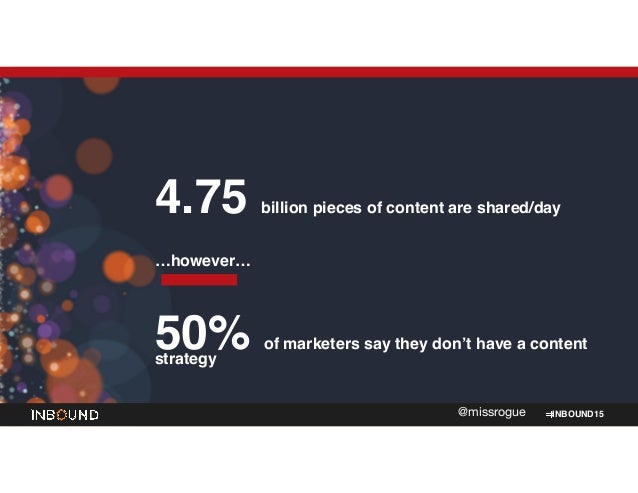 INBOUND15@missrogue 4.75 billion pieces of content are shared/day! ! …however…! ! 50% of marketers say they don't have a c...