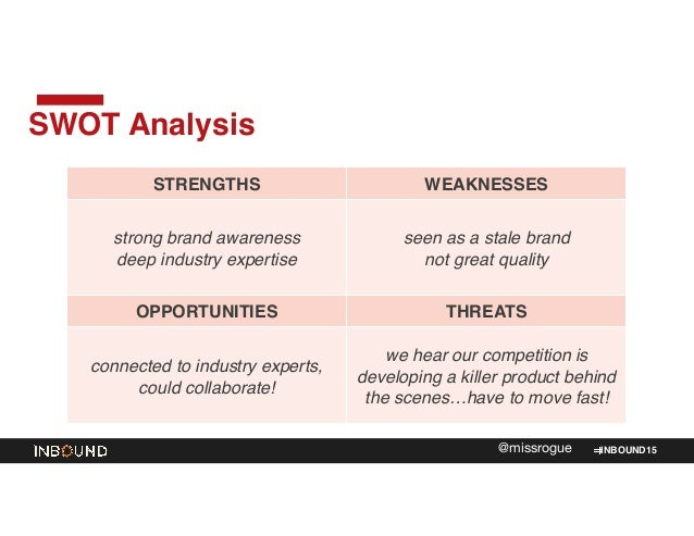 INBOUND15@missrogue SWOT Analysis STRENGTHS WEAKNESSES strong brand awareness! deep industry expertise seen as a stale bra...