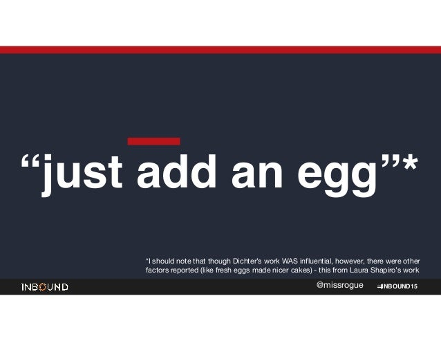 """INBOUND15@missrogue """"just add an egg""""* *I should note that though Dichter's work WAS influential, however, there were othe..."""
