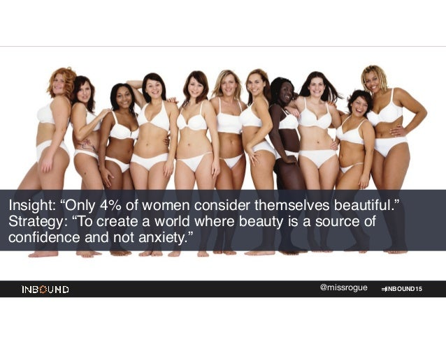 """INBOUND15@missrogue Insight: """"Only 4% of women consider themselves beautiful."""" Strategy: """"To create a world where beauty i..."""
