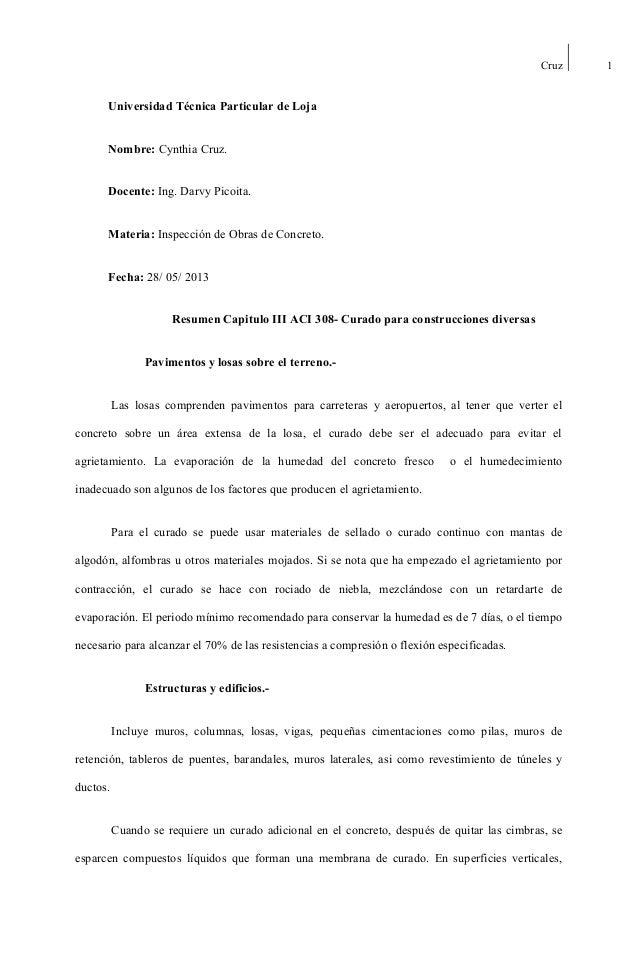Cruz  Universidad Técnica Particular de Loja Nombre: Cynthia Cruz. Docente: Ing. Darvy Picoita. Materia: Inspección de Obr...