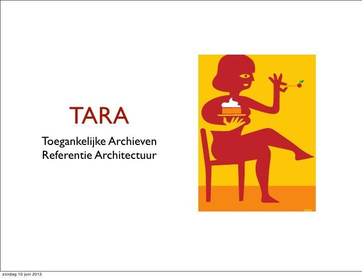 TARA                  Toegankelijke Archieven                  Referentie Architectuurzondag 10 juni 2012