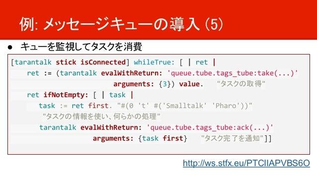 例: メッセージキューの導入 (5) ● キューを監視してタスクを消費 タスクの取得 タスクの情報を使い、何らかの処理   タスク完了を通知 http://ws.stfx.eu/PTCIIAPVBS6O