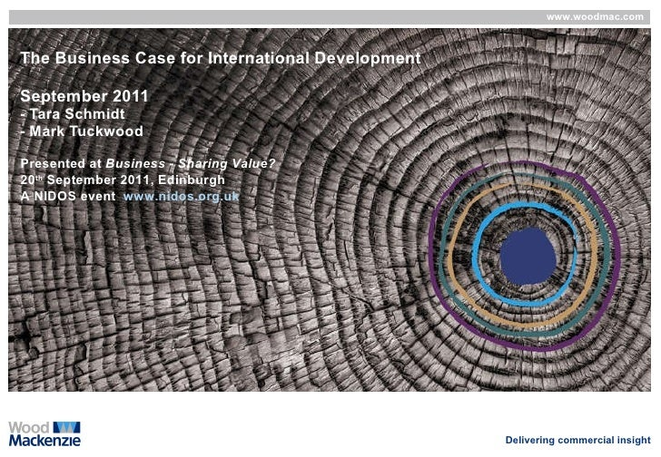The Business Case for International Development September 2011 - Tara Schmidt - Mark Tuckwood Presented at  Business - Sha...