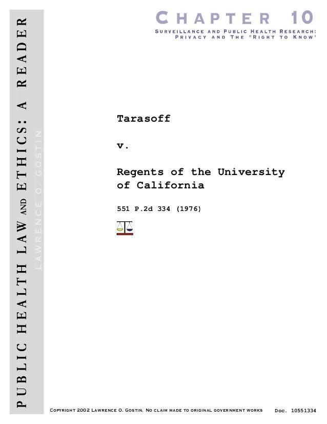 Tarasoff                        v.                        Regents of the University                        of California  ...