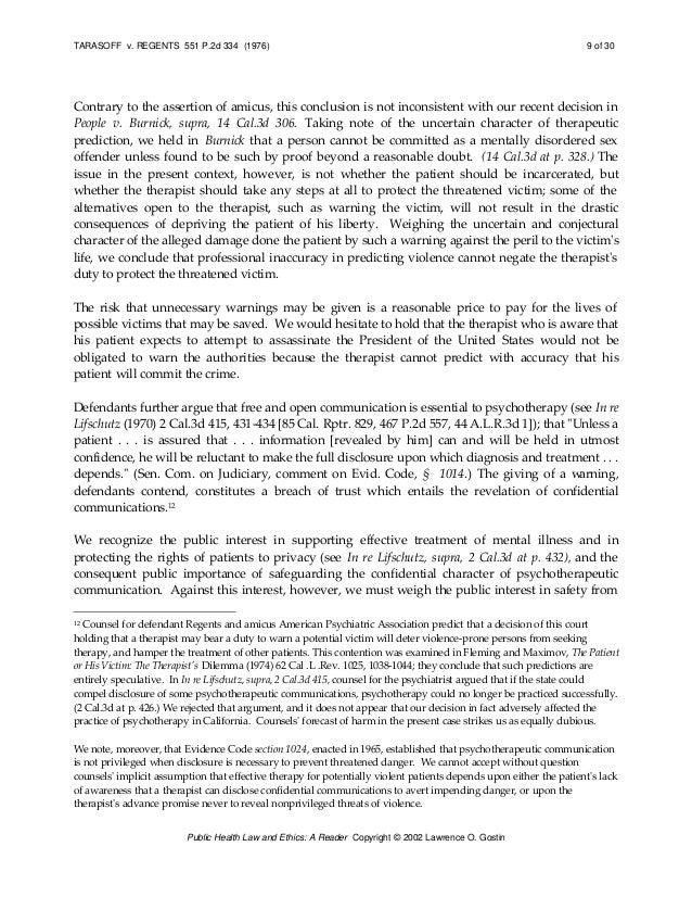 tarasoff v regents Case opinion for ca court of appeal tarasoff v regents of university  of california read the court's full decision on findlaw.