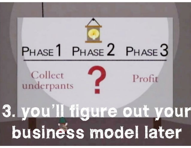 l@missrogue   @tctotem   #startuplies 3. you'll figure out your business model later