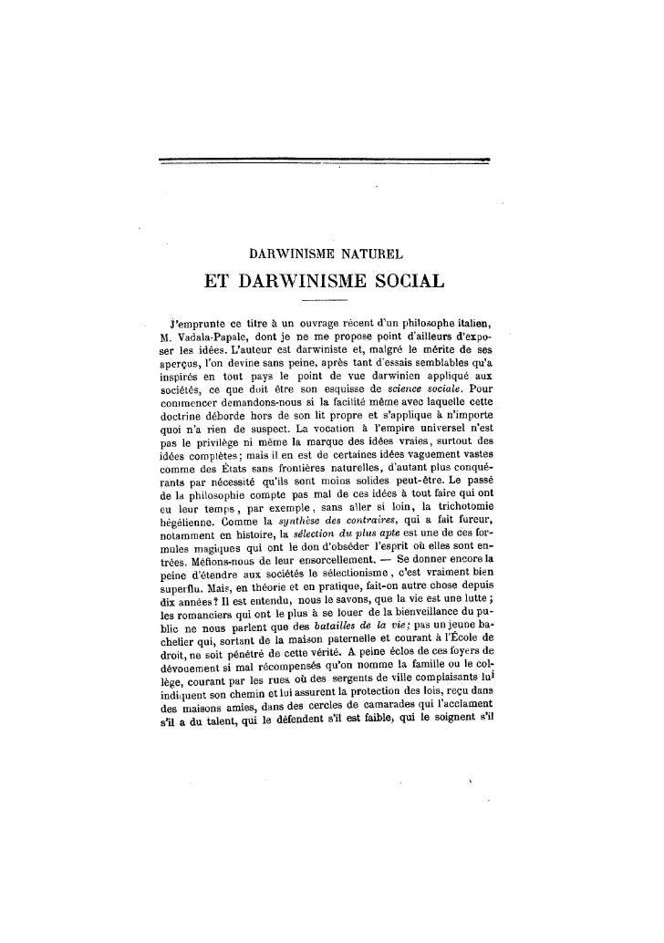 DARWINISME NATUREL           ET DARWINISME SOCIAL     j'emprunte ce titre à un ouvrage récent d'un philosophe italien, M. ...