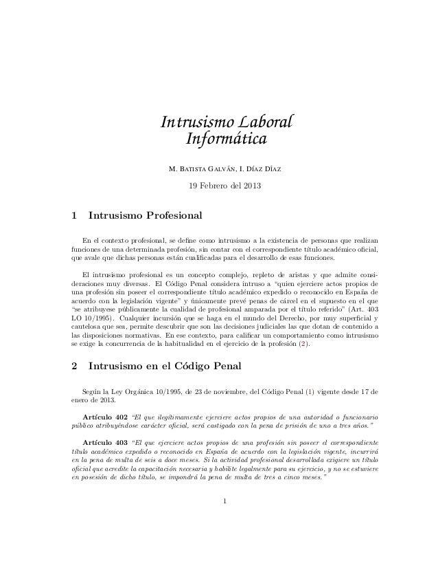 Intrusismo Laboral                                Inform´ tica                                       a                    ...