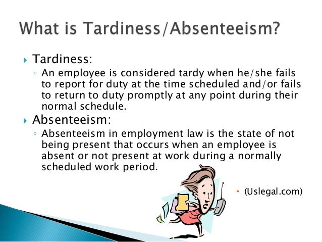 conclusion of employee absenteeism Absenteeism is an employee's intentional or habitual absence from work while employers expect workers to miss a certain number of workdays each year.