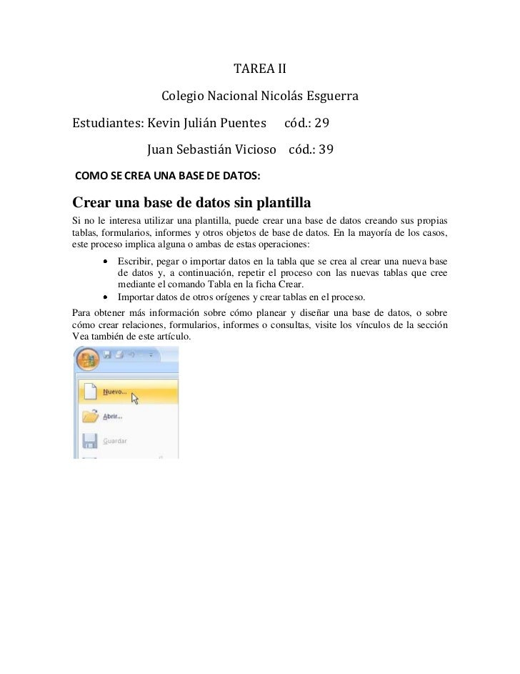 TAREA II                     Colegio Nacional Nicolás EsguerraEstudiantes: Kevin Julián Puentes                  cód.: 29 ...
