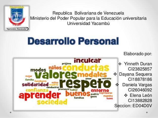 Republica Bolivariana de Venezuela Ministerio del Poder Popular para la Educación universitaria Universidad Yacambú Elabor...