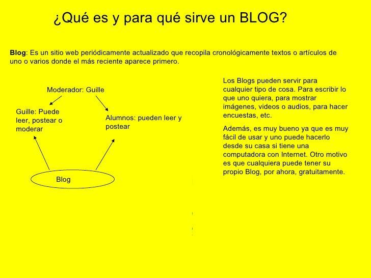 Blog : Es un sitio web periódicamente actualizado que recopila cronológicamente textos o artículos de uno o varios donde e...