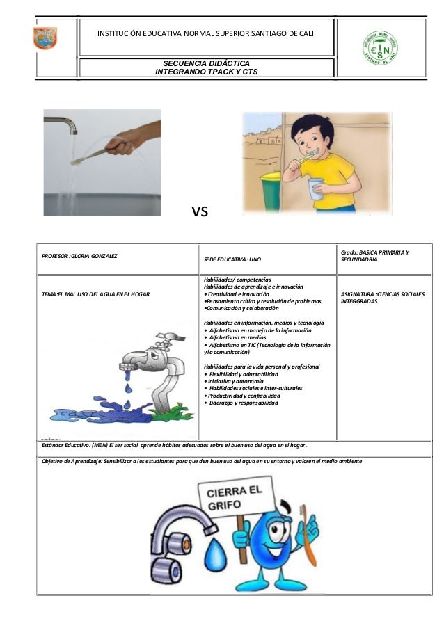 vs PROFESOR :GLORIA GONZALEZ SEDE EDUCATIVA: UNO Grado: BASICA PRIMARIA Y SECUNDADRIA TEMA:EL MAL USO DEL AGUA EN EL HOGAR...
