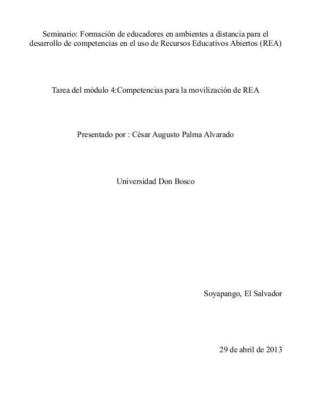 Seminario: Formación de educadores en ambientes a distancia para eldesarrollo de competencias en el uso de Recursos Educat...
