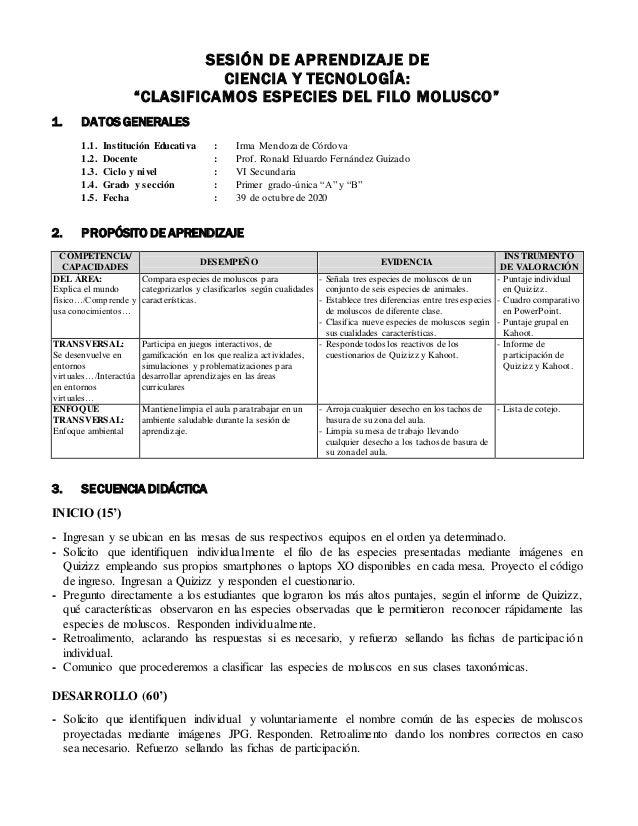 """SESIÓN DE APRENDIZAJE DE CIENCIA Y TECNOLOGÍA: """"CLASIFICAMOS ESPECIES DEL FILO MOLUSCO"""" 1. DATOS GENERALES 1.1. Institució..."""