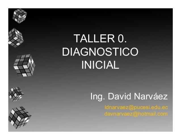 TALLER 0. DIAGNOSTICO INICIAL Ing. David Narváez ldnarvaez@pucesi.edu.ec davnarvaez@hotmail.com