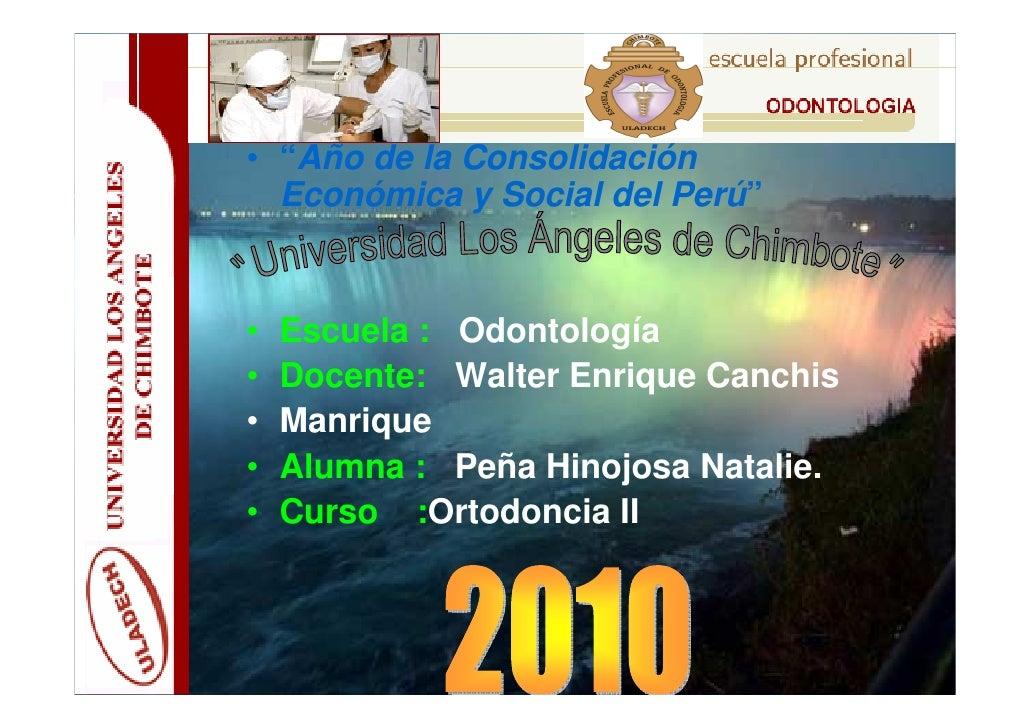 """• """"Año de la Consolidación   Económica y Social del Perú""""   •   Escuela : Odontología •   Docente: Walter Enrique Canchis ..."""
