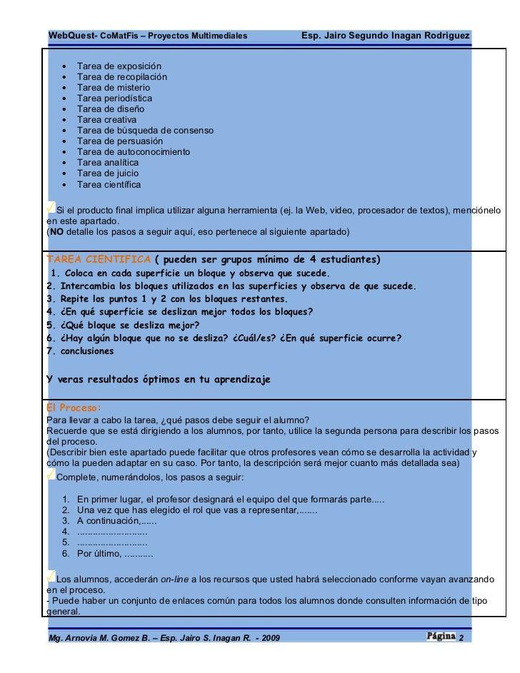 WebQuest- CoMatFis – Proyectos Multimediales                   Esp. Jairo Segundo Inagan Rodriguez      •    Tarea de expo...