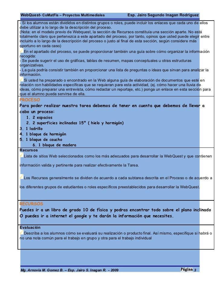 WebQuest- CoMatFis – Proyectos Multimediales                  Esp. Jairo Segundo Inagan Rodriguez - Si los alumnos están d...