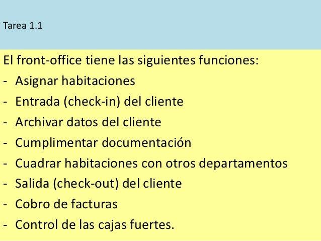 Tarea 1.1El front-office tiene las siguientes funciones:- Asignar habitaciones- Entrada (check-in) del cliente- Archivar d...