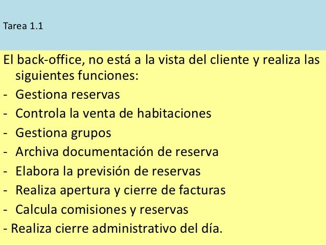 Tarea 1.1El back-office, no está a la vista del cliente y realiza las   siguientes funciones:- Gestiona reservas- Controla...