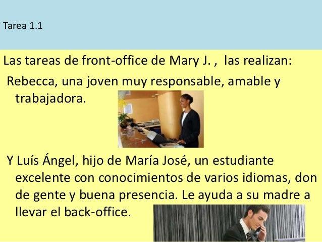 Tarea 1.1Las tareas de front-office de Mary J. , las realizan: Rebecca, una joven muy responsable, amable y  trabajadora.Y...