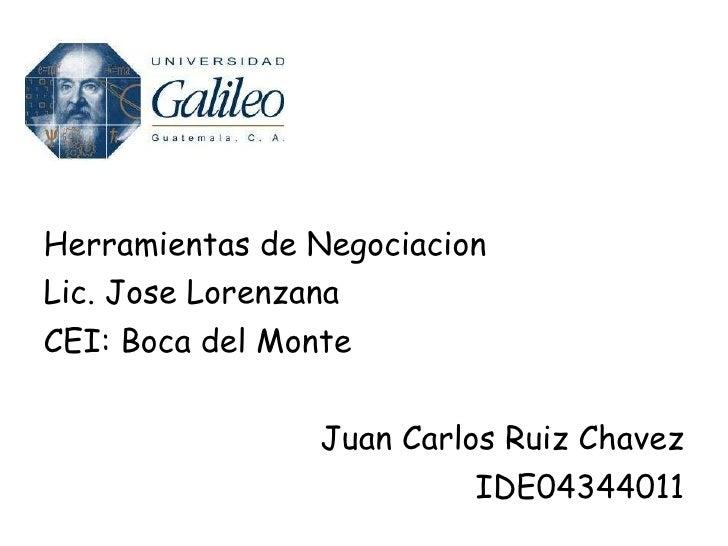<ul><li>Herramientas de Negociacion </li></ul><ul><li>Lic. Jose Lorenzana </li></ul><ul><li>CEI: Boca del Monte </li></ul>...