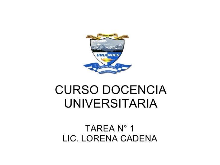 CURSO DOCENCIA UNIVERSITARIA      TAREA N° 1LIC. LORENA CADENA