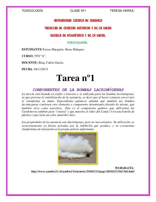 TOXICOLOGÍA  CLASE Nº1  TERESA HERAS.  UNIVERSIDAD TÉCNICA DE MACHALA FACULTAD DE CIENCIAS QUÍMICAS Y DE LA SALUD ESCUELA ...