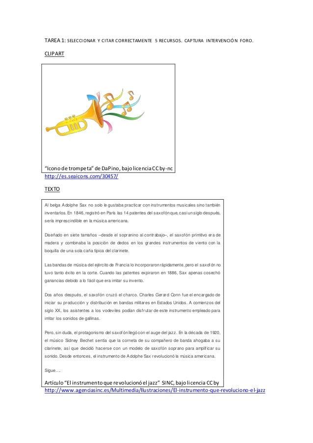 "TAREA 1: SELECCIONAR Y CITAR CORRECTAMENTE 5 RECURSOS. CAPTURA INTERVENCIÓN FORO. CLIPART ""Icono de trompeta""de DaPino,baj..."