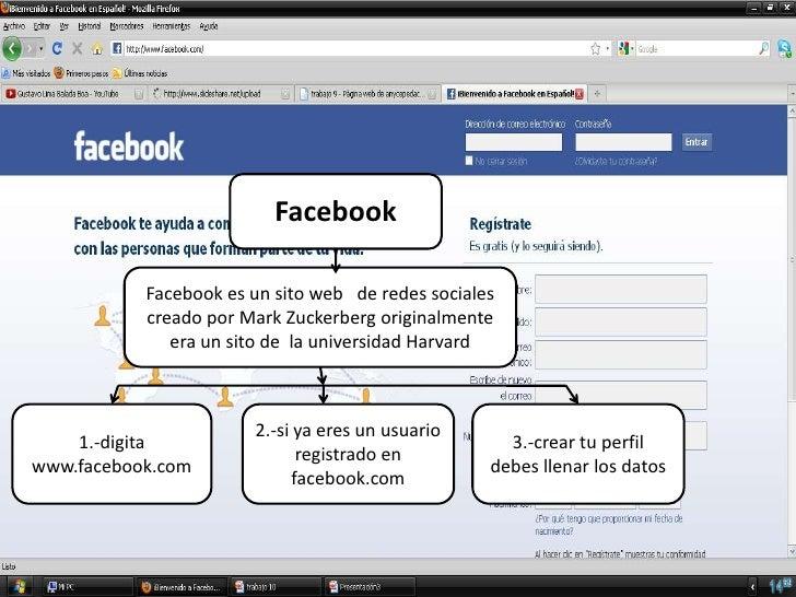 Facebook           Facebook es un sito web de redes sociales           creado por Mark Zuckerberg originalmente           ...