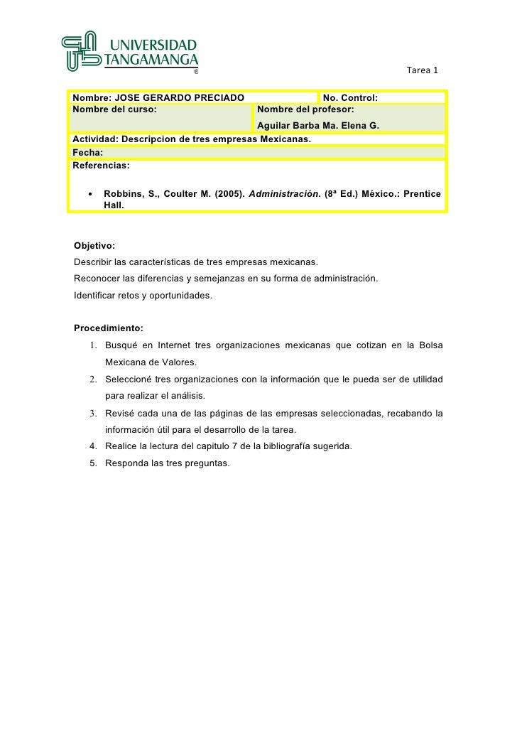 Tarea 1Nombre: JOSE GERARDO PRECIADO                             No. Control:Nombre del curso:                            ...