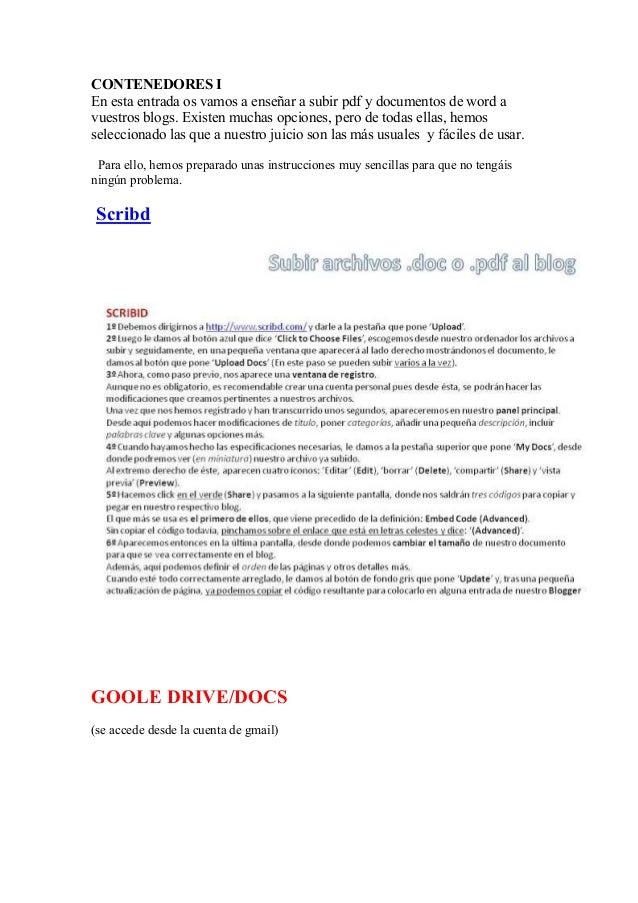 CONTENEDORES IEn esta entrada os vamos a enseñar a subir pdf y documentos de word avuestros blogs. Existen muchas opciones...