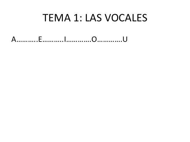 TEMA 1: LAS VOCALES A………..E………..I………….O………….U