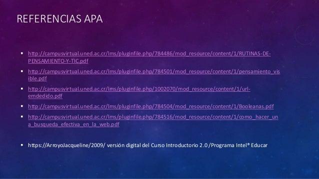 REFERENCIAS APA  http://campusvirtual.uned.ac.cr/lms/pluginfile.php/784486/mod_resource/content/1/RUTINAS-DE- PENSAMIENTO...