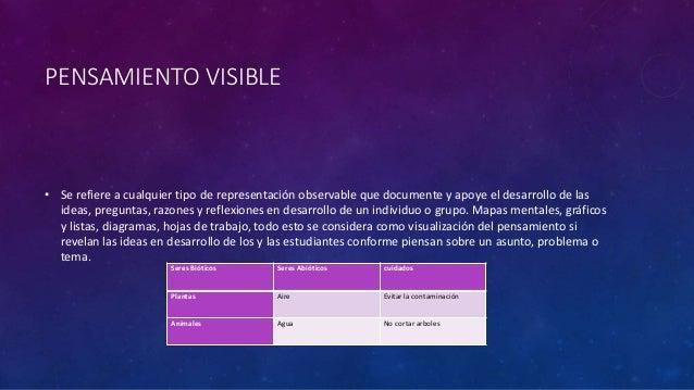 PENSAMIENTO VISIBLE • Se refiere a cualquier tipo de representación observable que documente y apoye el desarrollo de las ...