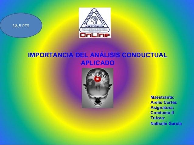 18,5 PTS       IMPORTANCIA DEL ANÁLISIS CONDUCTUAL                    APLICADO                                     Maestra...