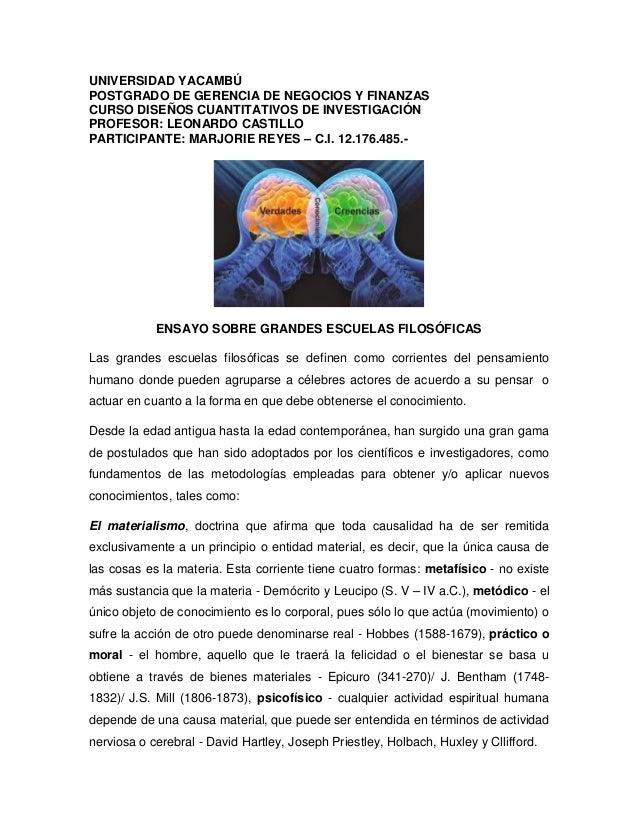 UNIVERSIDAD YACAMBÚ POSTGRADO DE GERENCIA DE NEGOCIOS Y FINANZAS CURSO DISEÑOS CUANTITATIVOS DE INVESTIGACIÓN PROFESOR: LE...