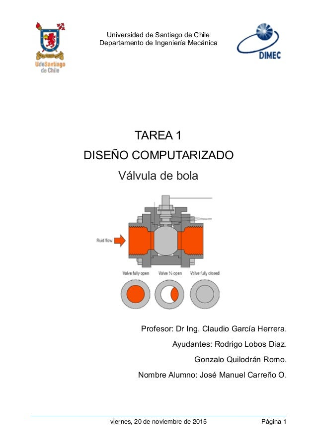 Universidad de Santiago de Chile Departamento de Ingeniería Mecánica  TAREA 1 DISEÑO COMPUTARIZADO Válvula de bola Profes...