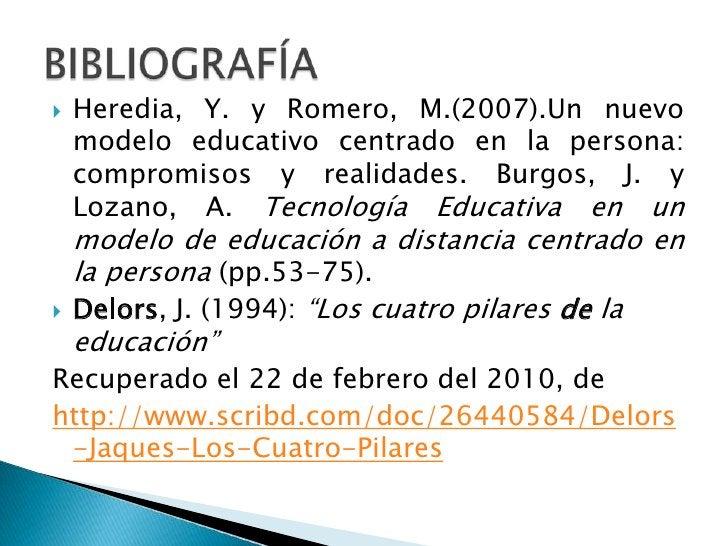 Heredia, Y. y Romero, M.(2007).Un nuevo modelo educativo centrado en la persona: compromisos y realidades. Burgos, J. y Lo...