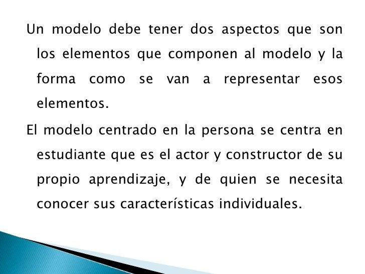 Un modelo debe tener dos aspectos que son los elementos que componen al modelo y la forma como se van a representar esos e...