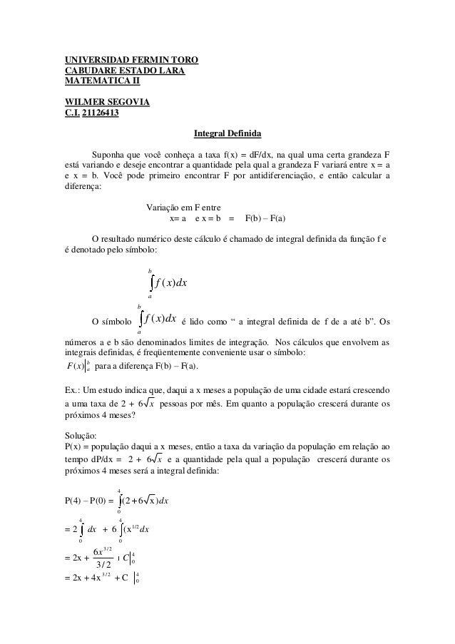 UNIVERSIDAD FERMIN TOROCABUDARE ESTADO LARAMATEMATICA IIWILMER SEGOVIAC.I. 21126413                                       ...
