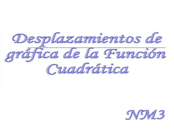 Desplazamientos de  gráfica de la Función  Cuadrática NM3