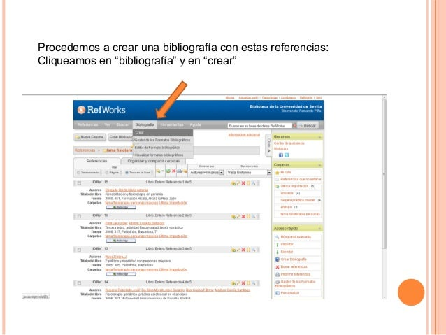 """Procedemos a crear una bibliografía con estas referencias:Cliqueamos en """"bibliografía"""" y en """"crear"""""""